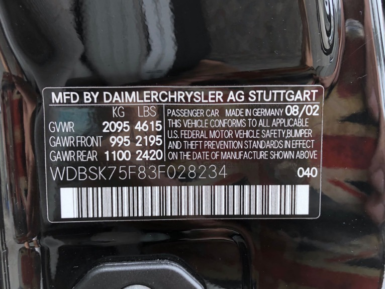 Used 2003 Mercedes Benz SL Class SL 500